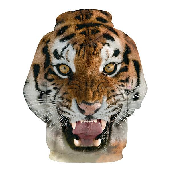 Unisex Fashion Tigers 3D Digital Printing Loose Hoodie