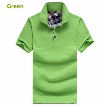 CN Golf Shirt Green / M Solid Color Cotton Casual Golf Shirts