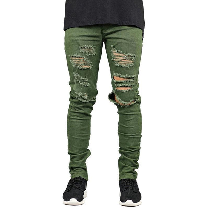 CN Green / 30 Skinny Ripped Fashion Jeans