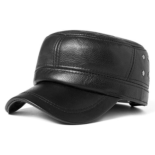 NewChick Hats & Caps Black Cowskin Black Warm Adjustable Flat Cap
