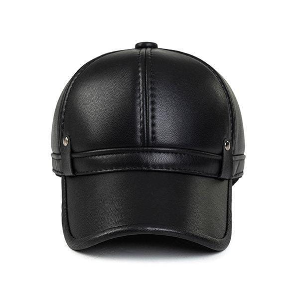 NewChick Hats & Caps Black Men Cowhide PU Leather Baseball Cap