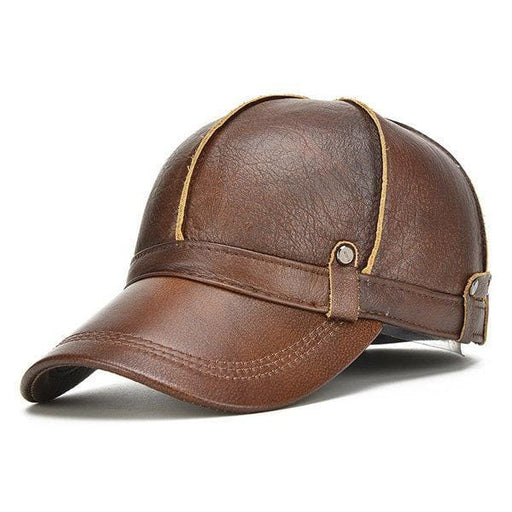 NewChick Hats & Caps Black Men Genuine Leather Cowhide Baseball Cap With Ears Flaps