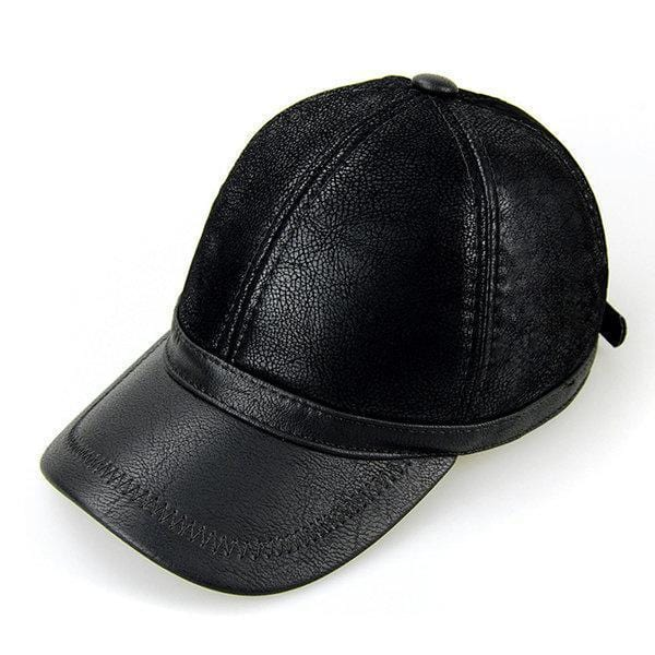 NewChick Hats & Caps Black Men PU Leather Baseball Cap Polo Hat Black Earflap Earmuffs Snapback Hat