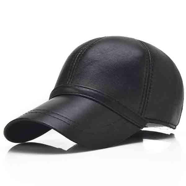 NewChick Hats & Caps Black Men Sheepskin Genuine Leather Baseball Cap