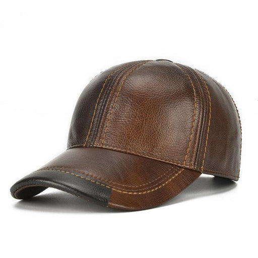 NewChick Hats & Caps Coffee Mens Cowhide Leather Baseball Cap