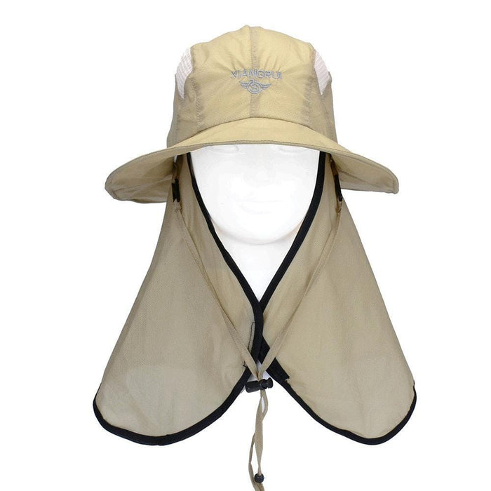 NewChick Hats & Caps Khaki Quick-Drying Fabric Sunshade Face Mask Hat