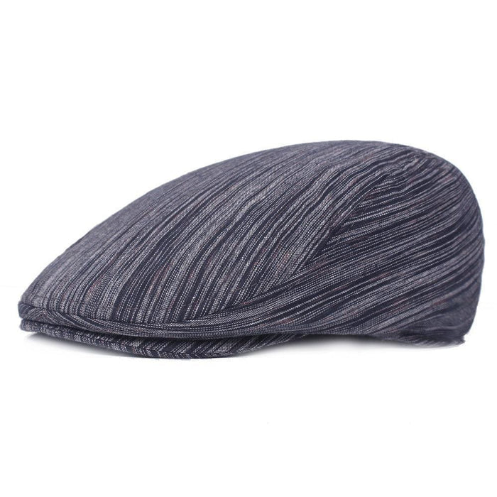 NewChick Hats & Caps Navy Solid Color Stripe Beret Cap