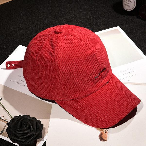 NewChick Hats Red Corduroy Solid Warm Baseball Cap For Women Mens