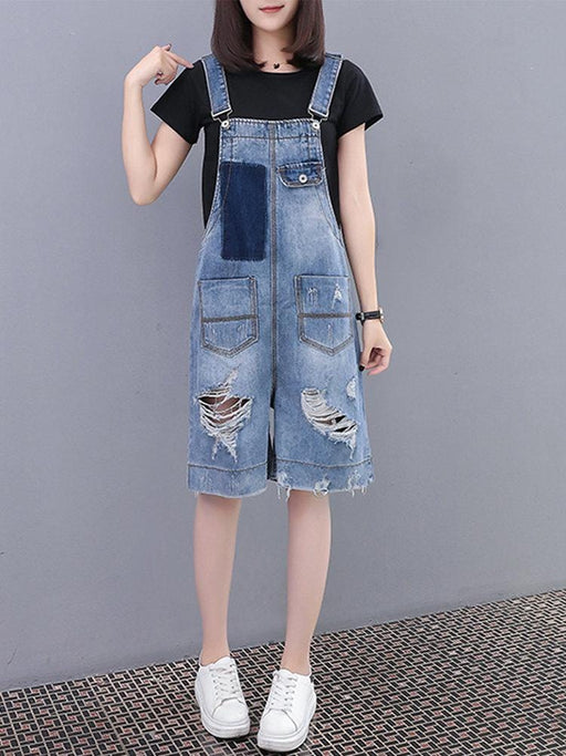 CN Jumpsuits & Rompers Blue / XL Ripped Pockets Denim Plus Size Rompers