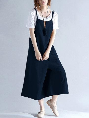 CN Jumpsuits & Rompers Navy / M Casual Sleeveless Straps Pockets Pure Color Wide Leg Jumpsuits