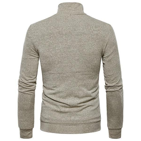 CN Khaki / S Mens Fashion Solid Hengli Collar Long-sleeved Sweater