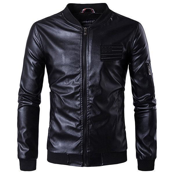 CN Leather & Suede Black / XL Embroidery Pockets Faux Leather Jacket