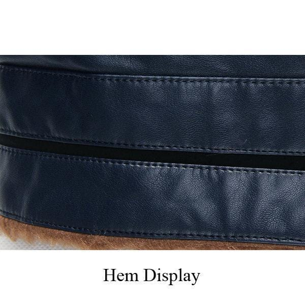 CN Leather & Suede Blue / L S-6XL PU Leather Stand Collar Jacket