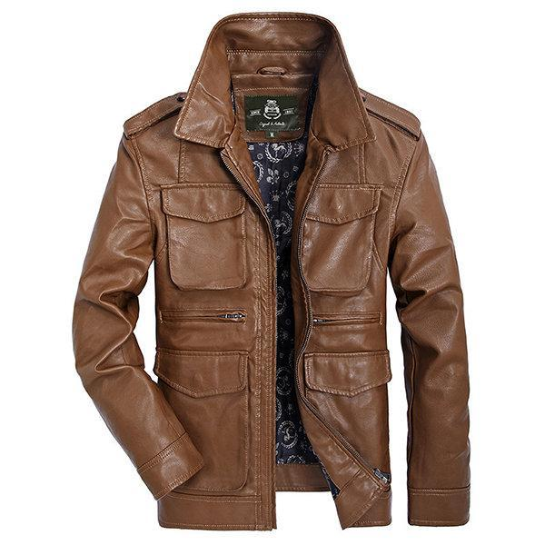 CN Leather & Suede Brown / L Big Pockets Faux Leather Jacket