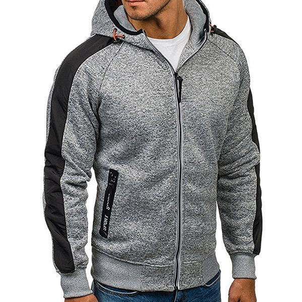 CN Light Grey / M Mens Fashion Casual Long Sleeve Zip Up Hoodie