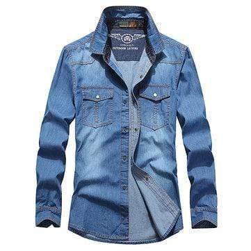 Loose Solid Color Denim Shirts