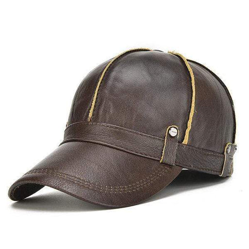 Men Genuine Leather Cowhide Baseball Cap With Ears Flaps