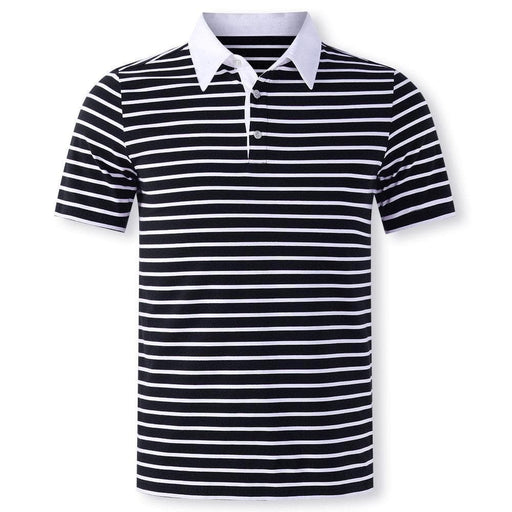 Men's Breathable Business Casual Striped Golf Shirt