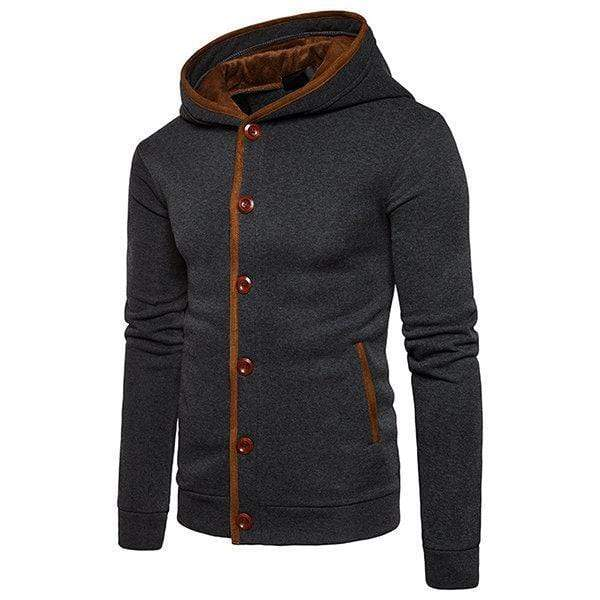 Men's Buttons Design Single Breated Casual Hoodies
