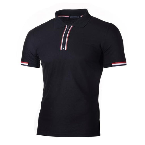 Men's Casual Striped Zipper Polo Shirts