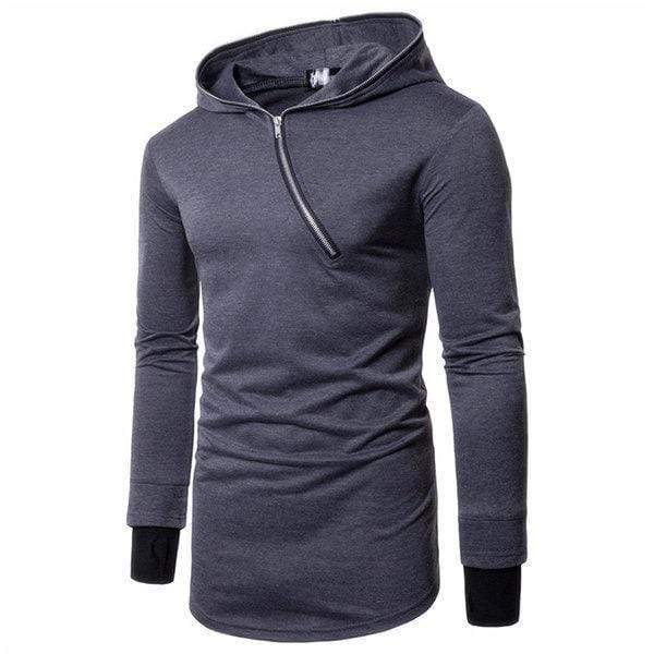 Men's Diagonal Zipper Design Cotton Hoodies