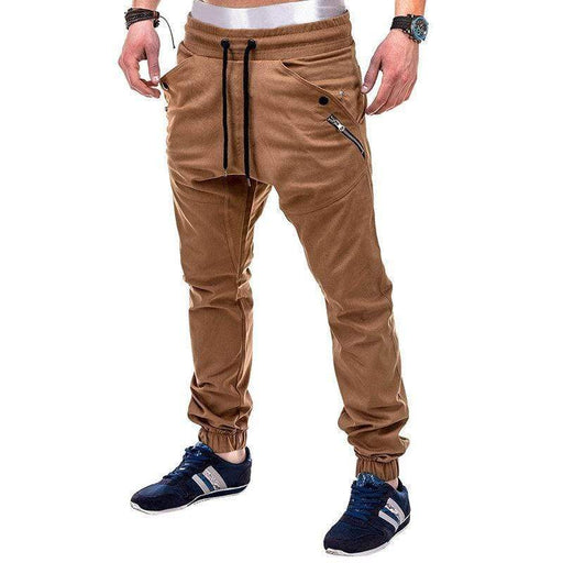 Men's Elastic Waist Solid Color Running Jogger Pants