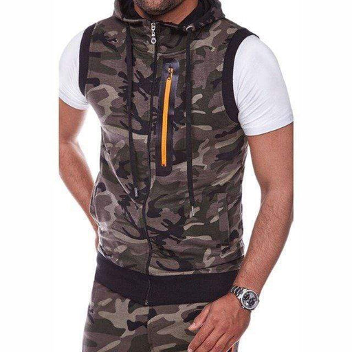 Men's Fitness Camo Hooded Jogging Training Tank