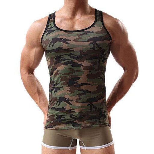 Mens Army Green Camo Hot Fitness Training Sleeveless Running Sport Cotton Tank Tops