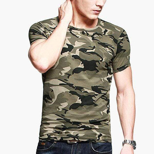Mens Camouflage Army Green Wicking Tees Tight Sports Fitness Training T-Shirt