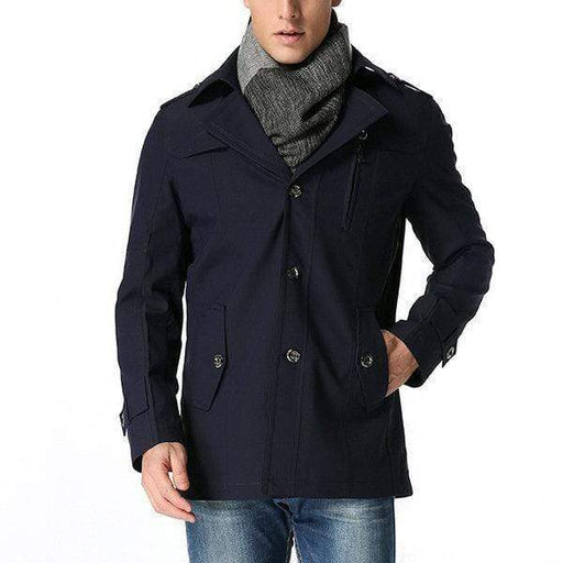 Mens Casual Turn-Down Collar Mid-Long Thin Trench Coat