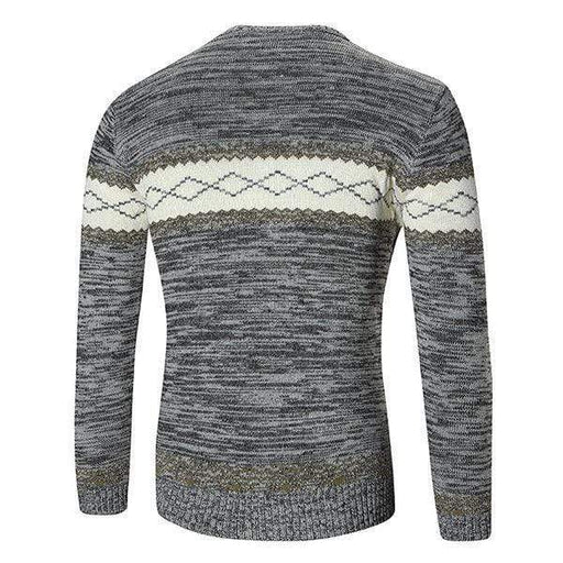 Mens Fall Winter Fashion Printed Knitted Round Neck Long Sleeve Casual Sweater