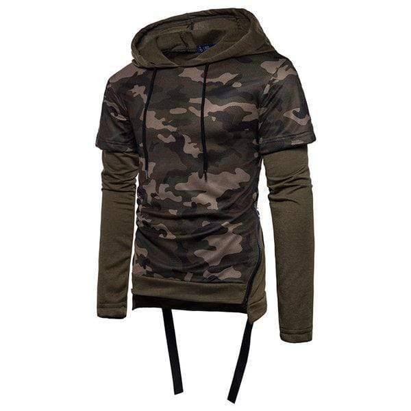 Mens Fashion Camouflage Hoodies Patchwork Design