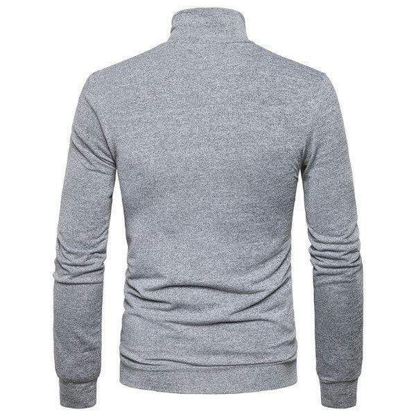Mens Fashion Solid Hengli Collar Long-Sleeved Sweater