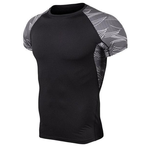Mens Fitness Training Short Sleeve Skinny Tops Elastic Quick-Drying Jogging Sport T-Shirts