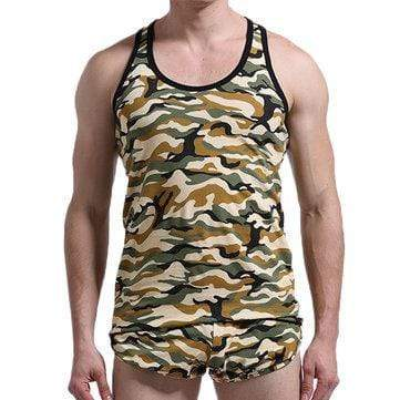 Mens Fitness Training Slim Fit Colorful Camo Printed Sport Elastic Nylon Quick Dry Tank Tops