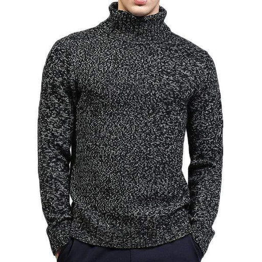 Mens High-Neck Solid Casual Sweater