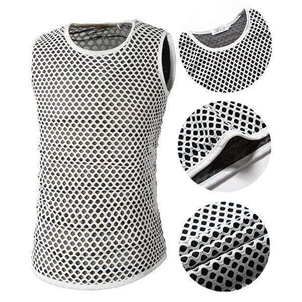 Mens Lattice Net Yarn Breathable O-Neck Sleeveless Slim Fit Casual Tank Tops