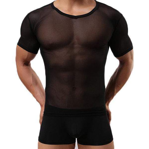 Mens Sexy Fitness Tops Perspective Tight Breathable Short Sleeve Round Neck Sports T-Shirt