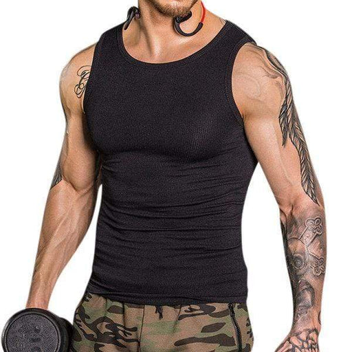 Mens Sexy High Elastic Body Sculpting Waist Tummy Tuck Skinny Fit Sport Tank Tops