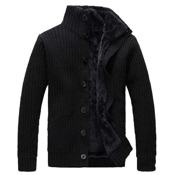 Mens Solid Thicken Stand Collar Thermal Cardigan