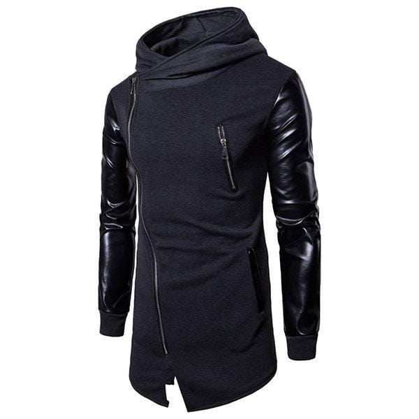 Mens Stitching Leather Zip Up Casual Hoodies