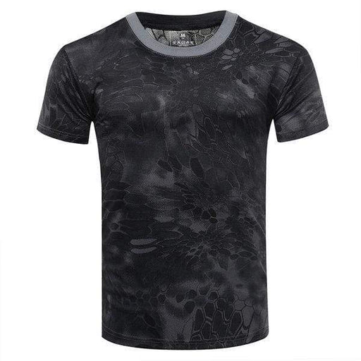 Mens Summer Mesh Quick-Drying Printed O-Neck Short Sleeve Casual Sport T-Shirt