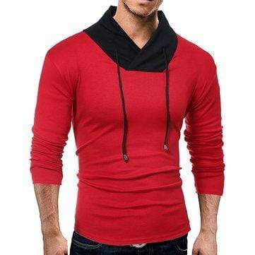 Mens Tough Style Contrast Color Long-Sleeved T-Shirt