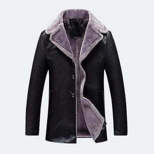 Notch Collar Fleece Leather Jacket