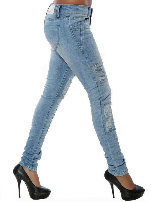 Patchwork Light Blue Skinny Jeans