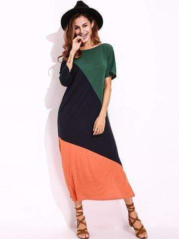 Patchwork Off-Shoulder Maxi Dress