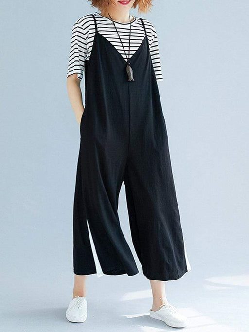 Patchwork Wide Leg Casual Rompers