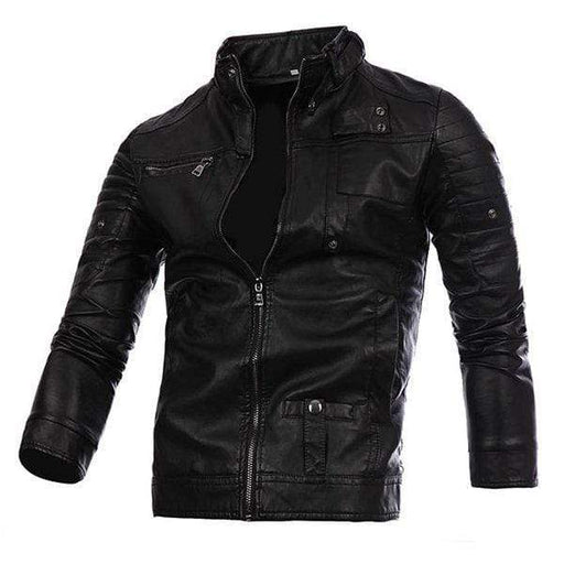 Plus Size Biker Motorcycle Pu Leather Jacket