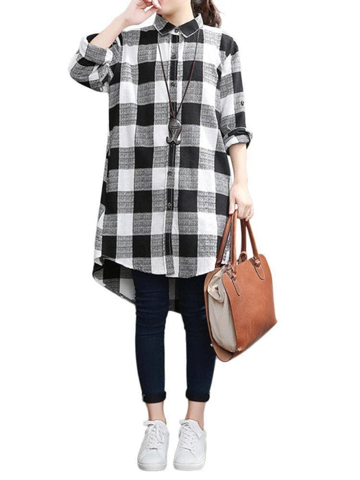 CN Plus Size Blouses & Shirts Black Red / S Loose Plus Size Plaid Lapel Long Sleeve High Low Shirt For Women