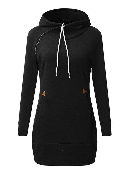 CN Plus Size Dresses Black / S Plus Size Solid Long Sleeve Hooded Mini Dress For Women